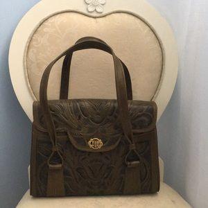 beautiful vintage tooled leather handbag